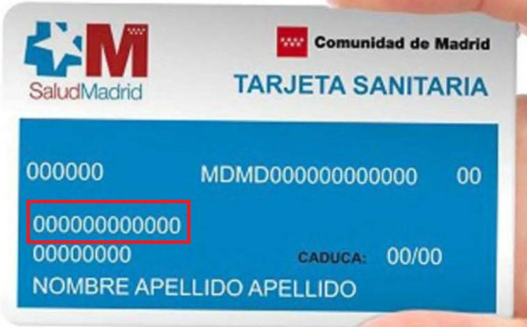 numero de la seguridad social en la tarjeta sanitaria